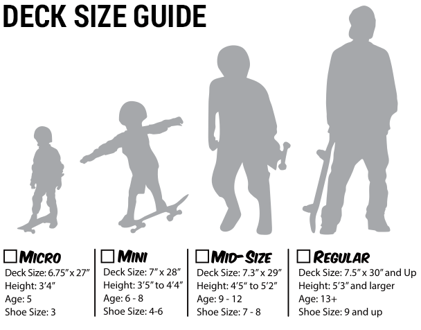 Skateboard Completes Size Chart