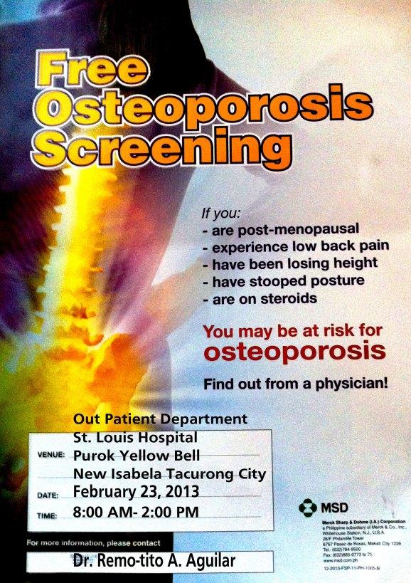 Free osteoporosis Screening Poster