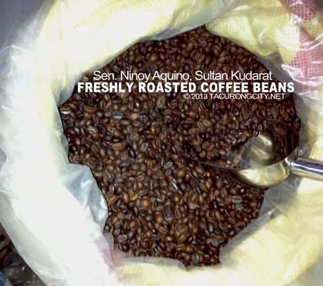Freshly roasted coffee ready for grinding