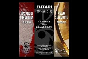 """Exposição """"Futari – Dois Artistas"""" reúne pinturas e cerâmicas no MAM"""