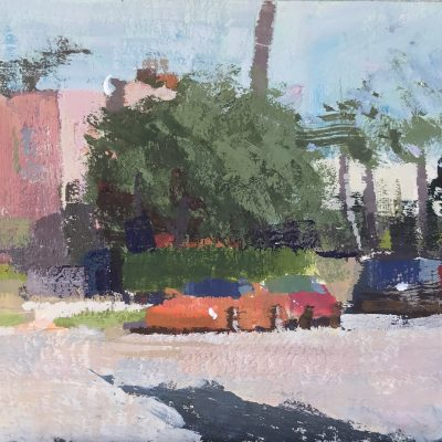 """""""Two Sports Cars"""" Gouache on board. 3.5x3.75 inches."""
