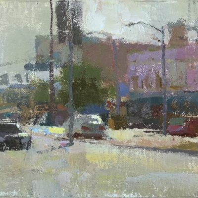 """""""Venice Boulevard at Sunset"""" Oil on canvas. 6x11 inches."""