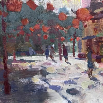 """""""Chinatown, Los Angeles"""" 6x12 inches. Oil on Board."""