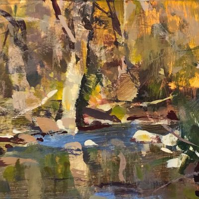 """Chittenango Creek, NY"" Acrylic on board. 5.5x10 inches"