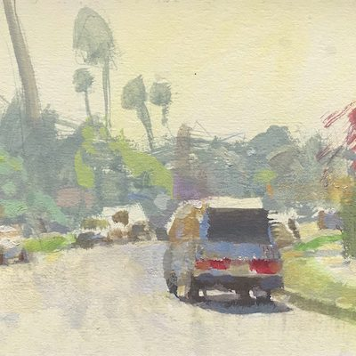 """""""Culver City Backlit"""" Gouache on board. 5x8 inches"""