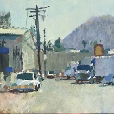 """""""Glendale Industry 2"""" Gouache on board. 5x9 inches"""