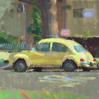 """""""Yellow Beetle"""" Gouache on board. 4.5x5 inches"""