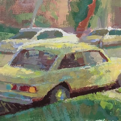 """""""Yellow BMW"""" Gouache on board. 5x8 inches"""