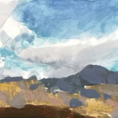 """""""Provo Clouds"""" Gouache on board. 3.5x6 inches."""