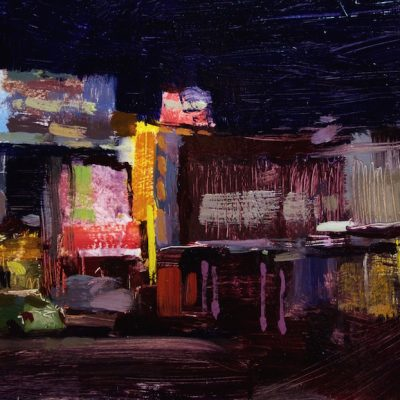 """""""Culver City at Night"""" Oil on board. 8x16 inches"""
