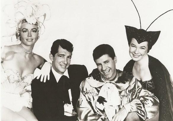 Dorothy Malone, Martin and Lewis, and Shirley MacLaine in a goofy studio shot. Swingin'.