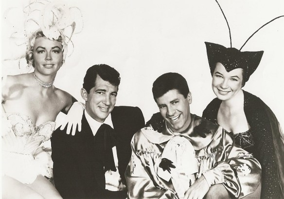 Dorothy Malone, Martin and Lewis, and Shirley MacLaine in a goofy studio shot. Swingin'.