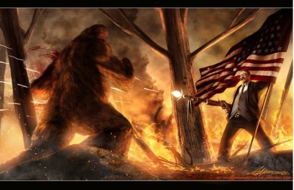 Here in California we're still in the last hour of Independence Day, which means I still have time to share this holiday-appropriate picture of Teddy Roosevelt machinegunning Bigfoot. America -- @#$% YEAH