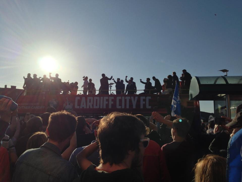 Open top bus carries Cardiff City Bluebird players. Photo/CJay
