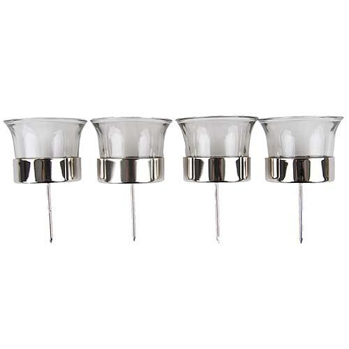 4er Set Teelichtglser mit Dorn in Silber fr Adventskranz oder Gestecke
