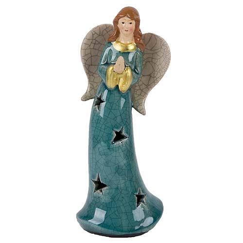 Keramik Engel betend in Trkis 19 cm