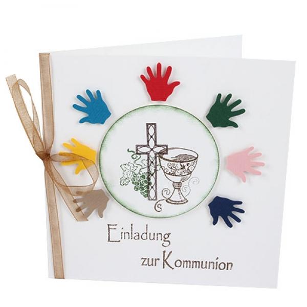 Einladungskarte Kommunion Bunte Hnde  Tafeldekode
