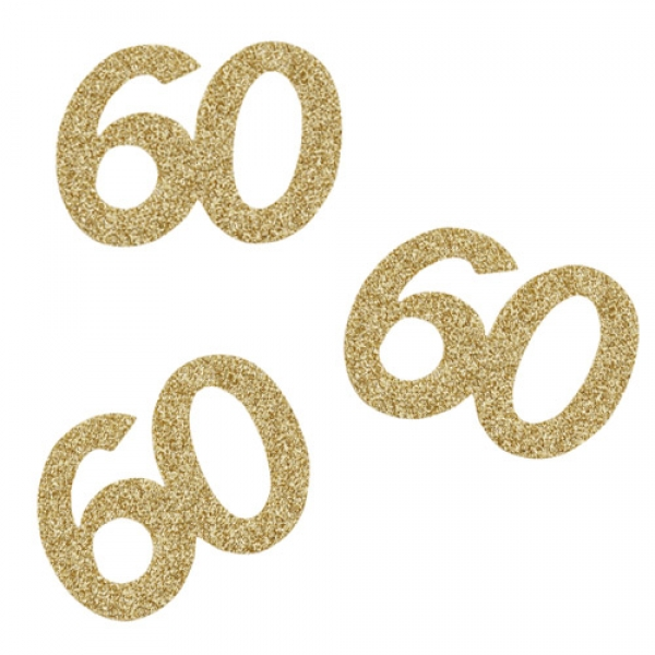 10 Streuteile Geburtstag 60 in Gold glitzernd 60 mm