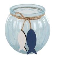 Windlicht Holz Glas