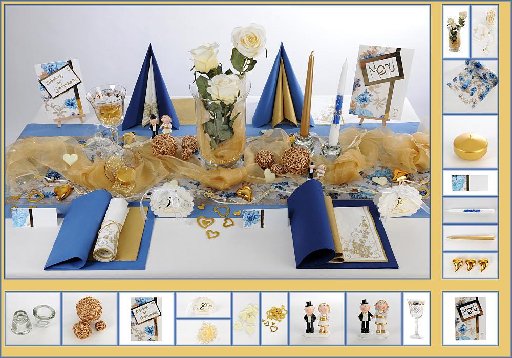 2 Mustertisch Verspielt in BlauGold  Tischdeko Goldene