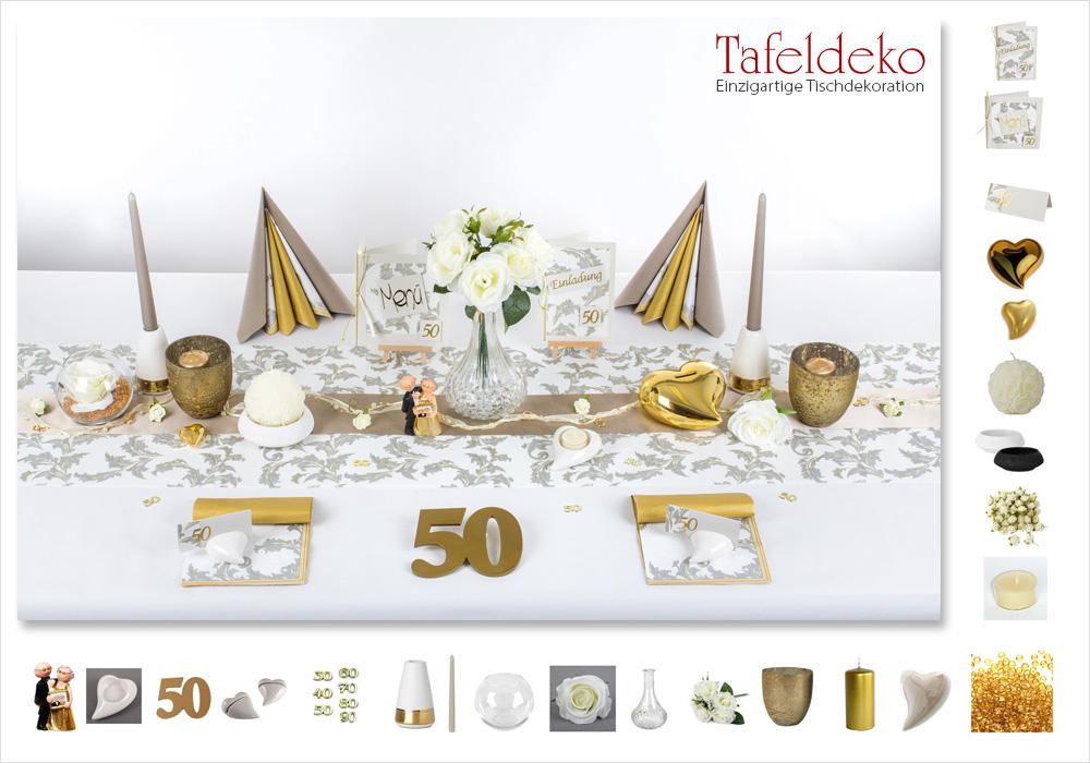 4 Mustertisch Eleganz in Gold  Tischdeko Goldene
