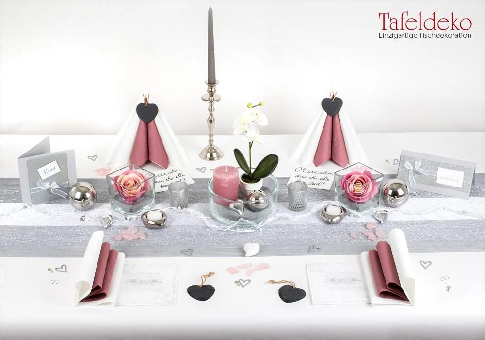5 Mustertisch in SilberAltrosa  Tischdeko Hochzeit