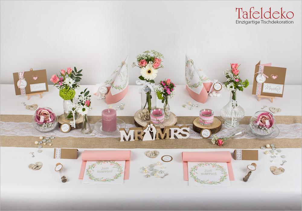 4 Mustertisch Vintage in Rosa  Tischdeko Hochzeit
