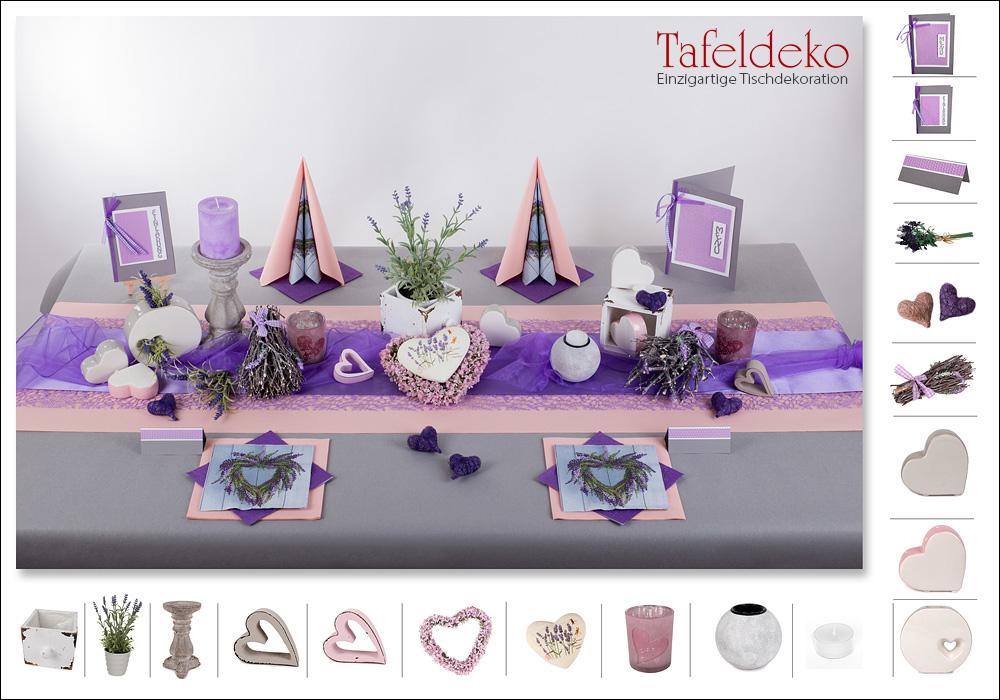4 Mustertisch Lavendel  Tischdeko Hochzeit  Tafeldekode