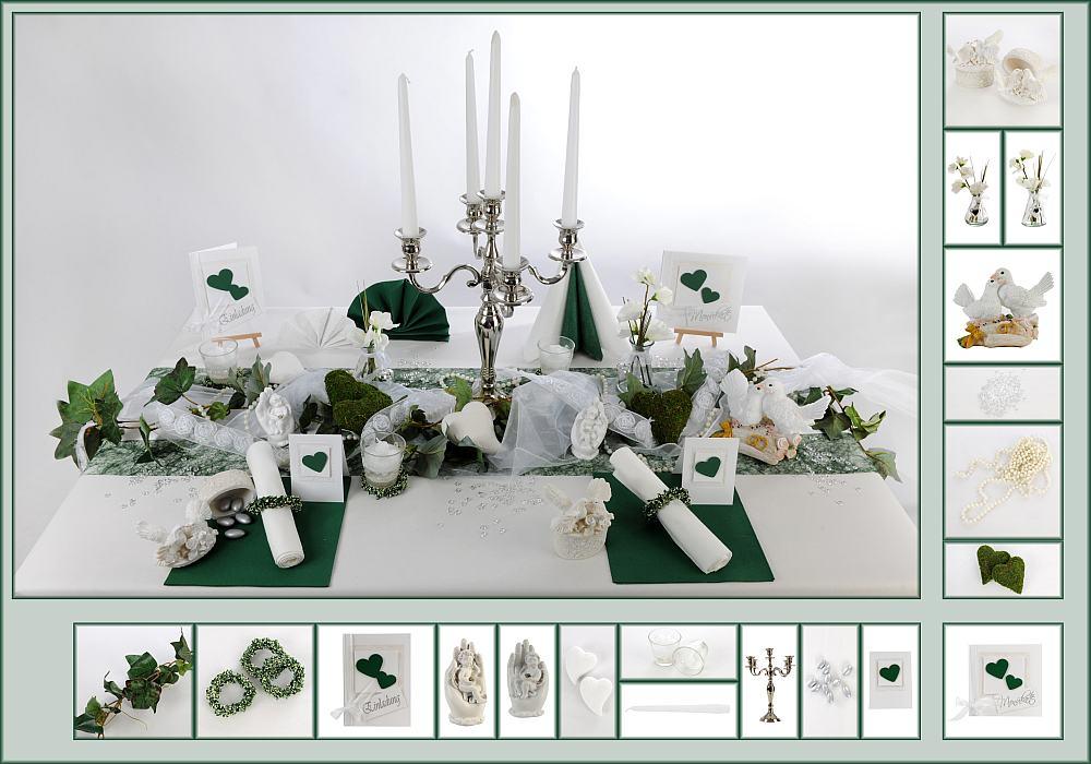 7 Mustertisch in Dunkelgn  Tischdeko Hochzeit  Tafeldekode