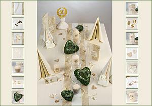 Tischdekoration anlsslich der Goldenen Hochzeit  Tafeldeko
