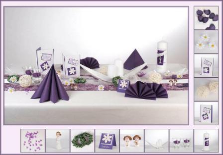 Tischdeko in der Farbe lila zur Kommunion  Tafeldeko