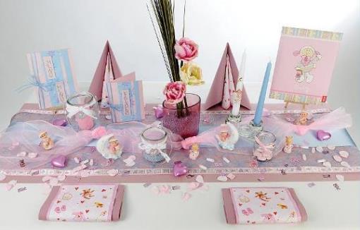 Tischdekoration zur Taufe in rosa und hellblau  Tafeldeko