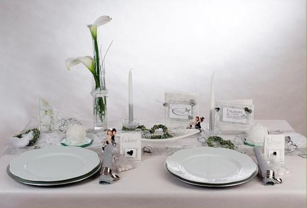 Neue Ideen fr die Hochzeitstischdeko in wei silber und grn  Tafeldeko