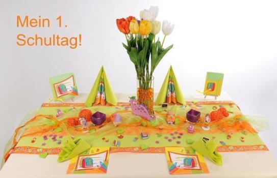 Tischdeko zur Einschulung  in Grn und Orange ein echter Hingucker  Tafeldeko