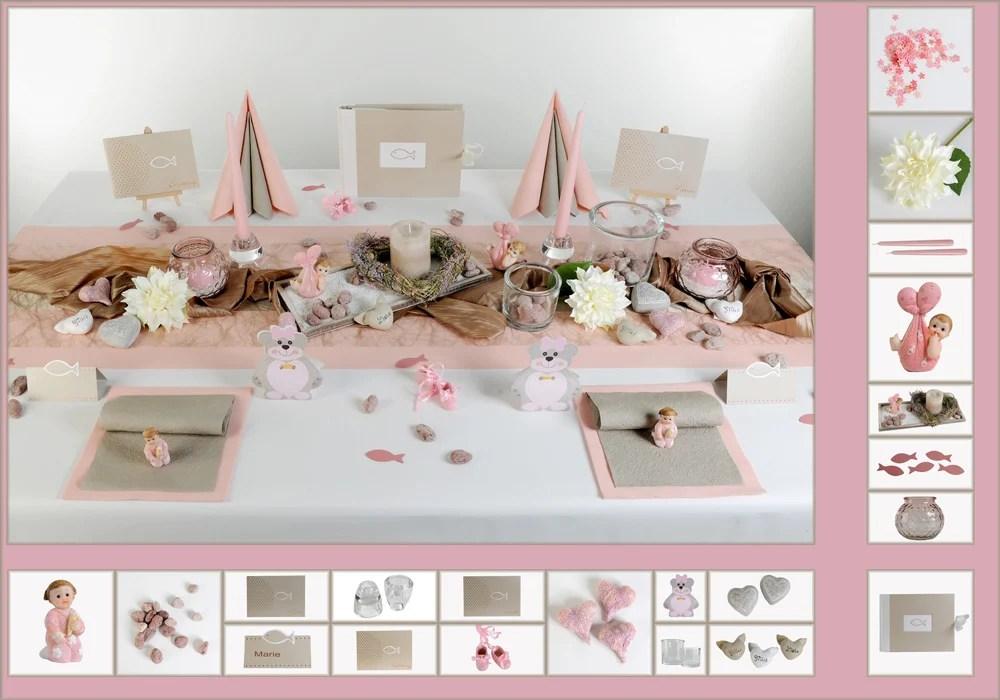 Taufe Tischdeko in Rosa und Taupe  Tafeldeko