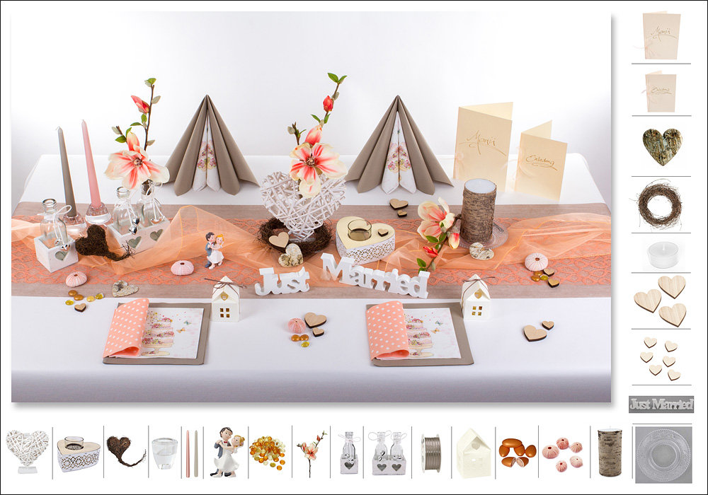 Deko Hochzeitstisch  ein Traum mit Apricot  Tafeldeko