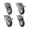 100mm Castors 2 Swivel/2 Braked Black Rubber
