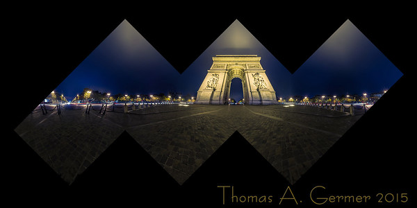 The Arc de Triomphe in Paris, a spherical panorama displayed as the six sides of a cube. This is a proof for a photographic sculpture.
