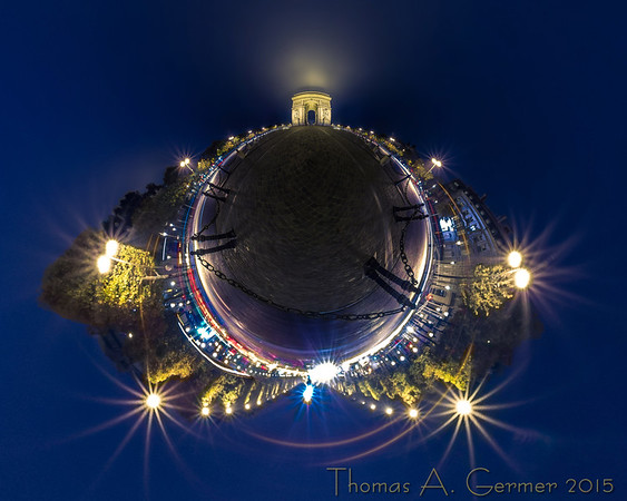 The Arc de Triomphe in Paris, a spherical panorama displayed as a stereographic projection.