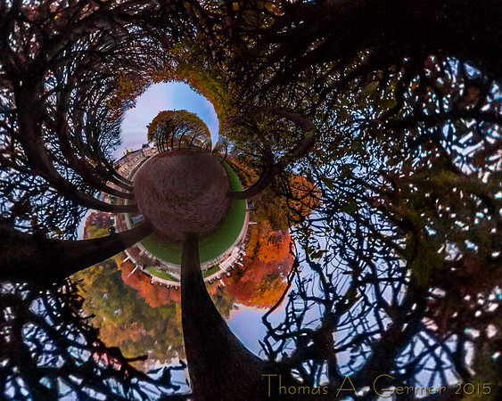 'Automne dans le jardin,' a spherical panorama mapped onto a plane with a stereographic projection.