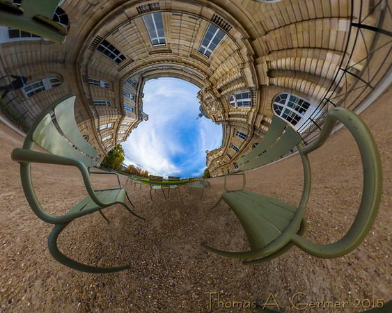 'Chairs at Luxembourg', a spherical panorama shown as a stereographic projection