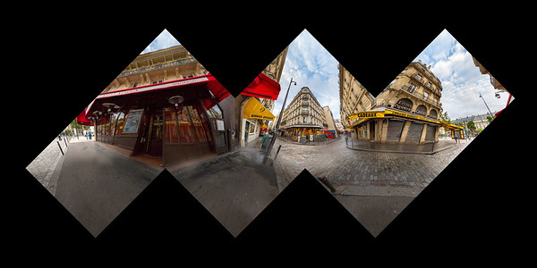 A spherical panorama, taken in Paris by the Hotel Albe near Saint-Michele. This is a proof for a cubic panorama, which may someday be assembled into a photographic sculpture.