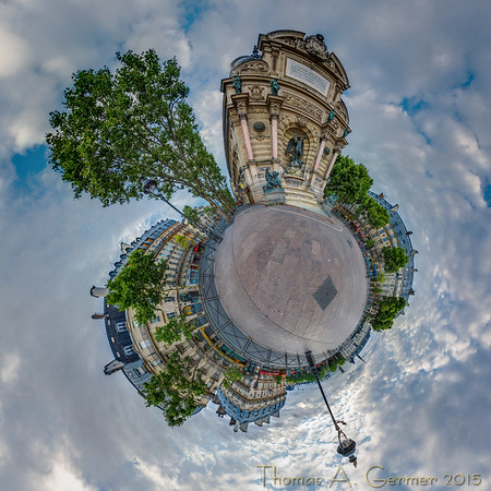 Fontaine Saint-Michel, a spherical panorama viewed with the stereographic projection