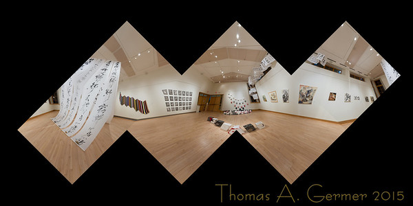 Flattened spherical panoramic cube featuring works by the artists Kit-Keung Kan, Freda Lee-McCann, and In-soon Shin.