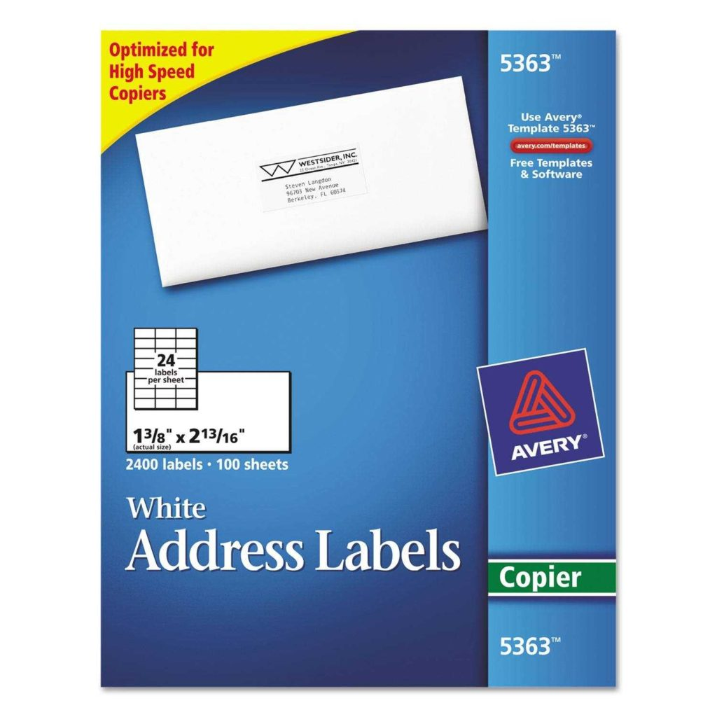 24 Labels Per Sheet Template and Copier Address Labels by Avery Ave5363 within 24 Labels Per Sheet