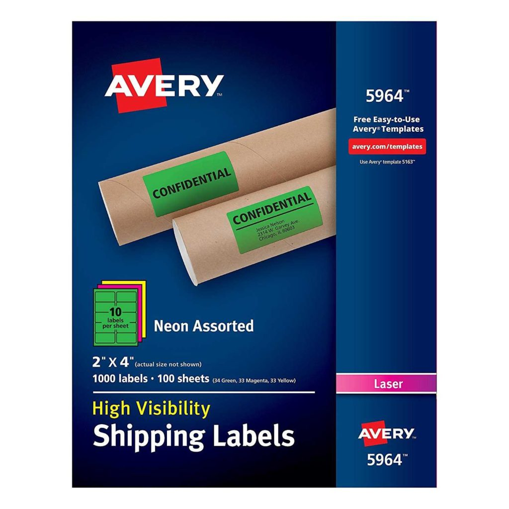 33 Labels Per Sheet Template and Avery High Visibility Neon Shipping Labels for Laser