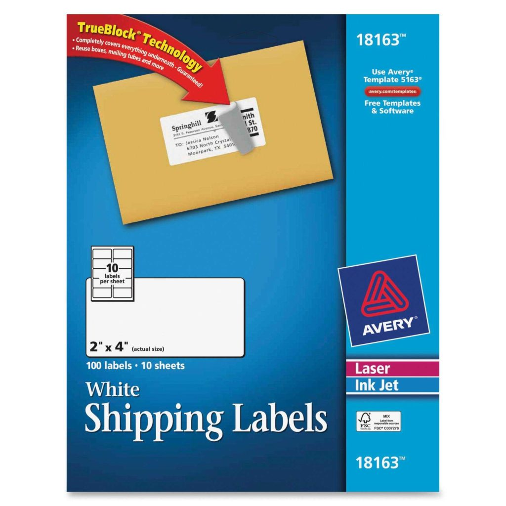 4 Per Sheet Label Template and Avery Laser Inkjet Printer Shipping Labels Permanent