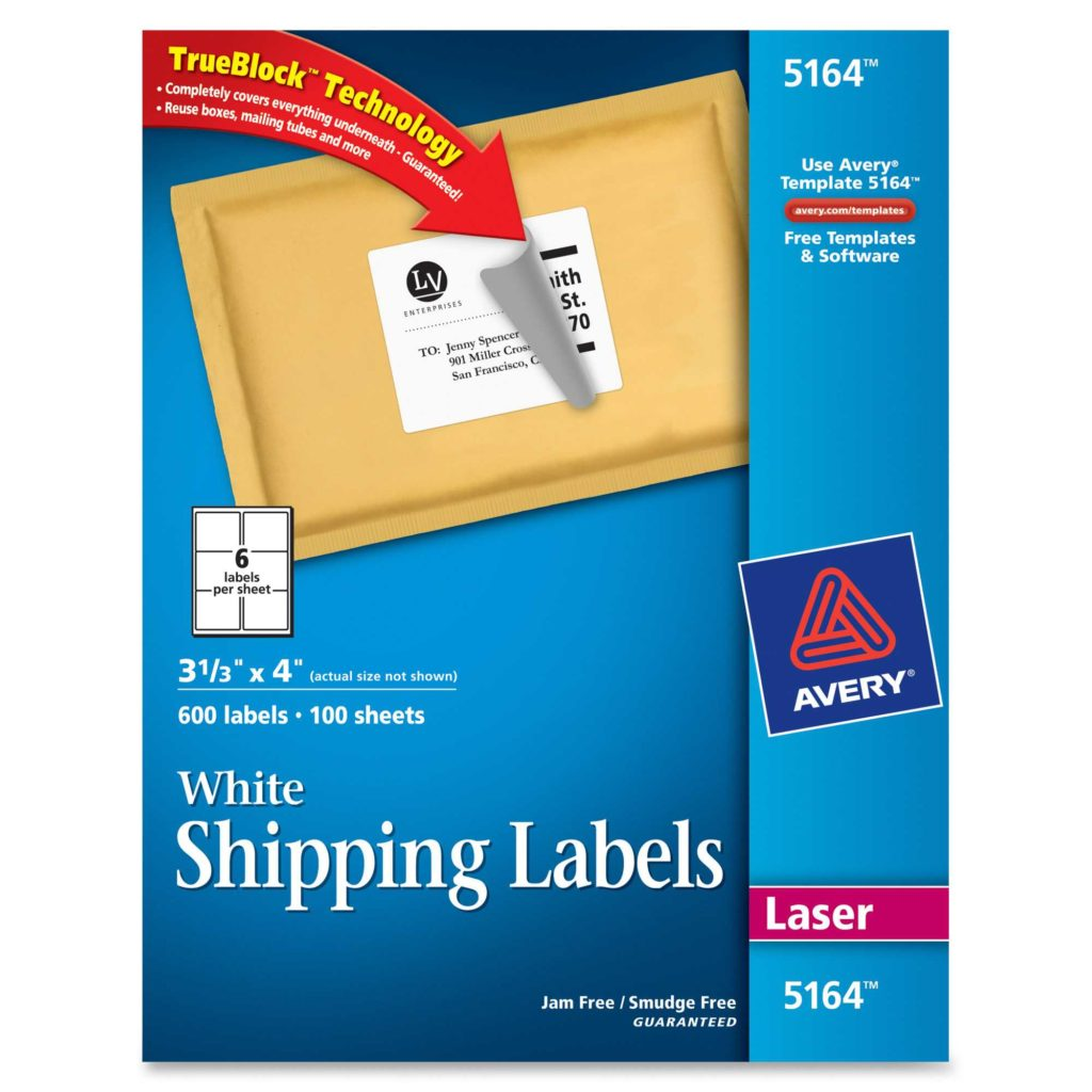 6 Labels Per Sheet Template and Avery 5164 Easy Peel White Shipping Labels Permanent Adhesive