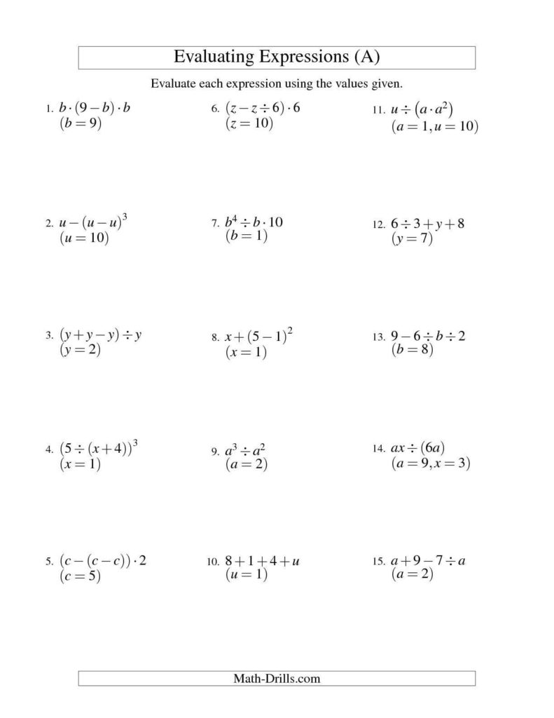 Aa 12 Step Worksheets and Evaluating Three Step Algebraic Expressions with Two Variables A