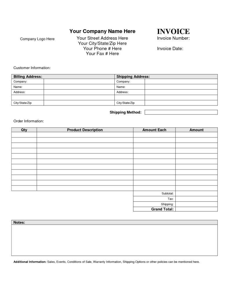 Air Conditioning Invoice Template and Invoice Template Blank Printable Invoice Template